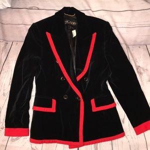 ** Vintage**80s Escada Black & Red Velvet Jacket